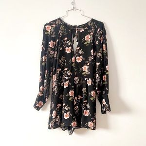 Forever 21 floral romper with long sleeves in med